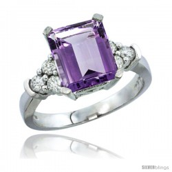 10K White Gold Natural Amethyst Ring Emerald-shape 9x7 Stone Diamond Accent
