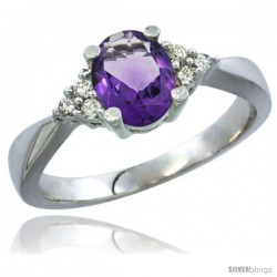 10K White Gold Natural Amethyst Ring Oval 7x5 Stone Diamond Accent -Style Cw901168