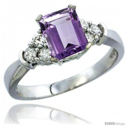 10K White Gold Natural Amethyst Ring Emerald-shape 7x5 Stone Diamond Accent