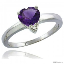 10K White Gold Natural Amethyst Heart-shape 7x7 Stone Diamond Accent
