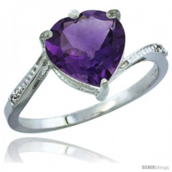 10K White Gold Natural Amethyst Ring Heart-shape 9x9 Stone Diamond Accent