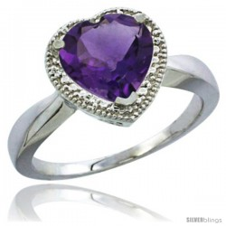 10K White Gold Natural Amethyst Ring Heart-shape 8x8 Stone Diamond Accent