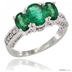 14k White Gold Ladies Oval Natural Emerald 3-Stone Ring Diamond Accent