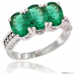 14K White Gold Natural Emerald Ring 3-Stone 7x5 mm Oval Diamond Accent