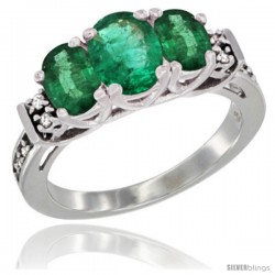 14K White Gold Natural Emerald Ring 3-Stone Oval with Diamond Accent