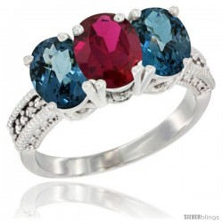 14K White Gold Natural Ruby & London Blue Topaz Sides Ring 3-Stone 7x5 mm Oval Diamond Accent