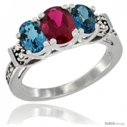 14K White Gold Natural High Quality Ruby & London Blue Ring 3-Stone Oval with Diamond Accent