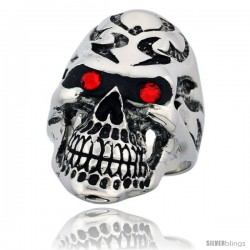 Surgical Steel Biker Skull Ring Tribal Tattoos Red CZ Eyes 1 3/8 in long