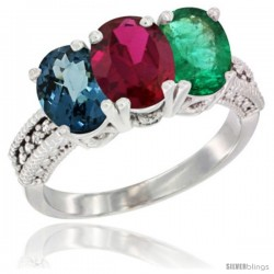 14K White Gold Natural London Blue Topaz, Ruby & Emerald Ring 3-Stone 7x5 mm Oval Diamond Accent