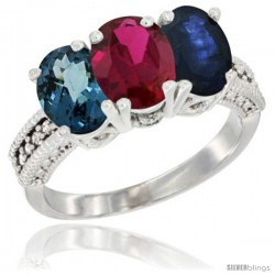 14K White Gold Natural London Blue Topaz, Ruby & Blue Sapphire Ring 3-Stone 7x5 mm Oval Diamond Accent