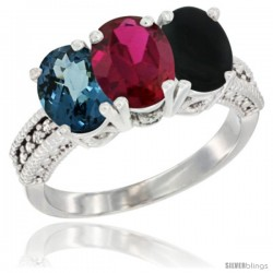 14K White Gold Natural London Blue Topaz, Ruby & Black Onyx Ring 3-Stone 7x5 mm Oval Diamond Accent