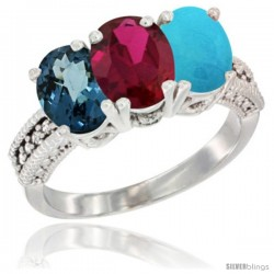 14K White Gold Natural London Blue Topaz, Ruby & Turquoise Ring 3-Stone 7x5 mm Oval Diamond Accent