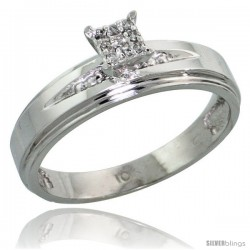 10k White Gold Diamond Engagement Ring 0.06 cttw Brilliant Cut, 3/16 in wide -Style Ljw013er