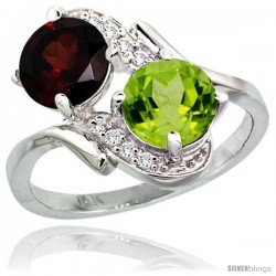 14k White Gold ( 7 mm ) Double Stone Engagement Garnet & Peridot Ring w/ 0.05 Carat Brilliant Cut Diamonds & 2.34 Carats Round