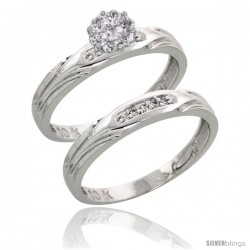 10k White Gold Diamond Engagement Rings Set 2-Piece 0.09 cttw Brilliant Cut, 1/8 in wide -Style Ljw014e2