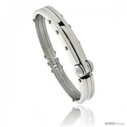Gent's Stainless Steel Bangle Bracelet, 1/2 in wide, 8 1/2 in long