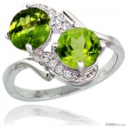 14k White Gold ( 7 mm ) Double Stone Engagement Peridot Ring w/ 0.05 Carat Brilliant Cut Diamonds & 2.34 Carats Round Stones