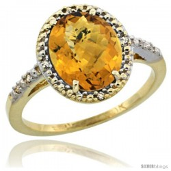 10k Yellow Gold Diamond Whisky Quartz Ring 2.4 ct Oval Stone 10x8 mm, 1/2 in wide -Style Cy926111
