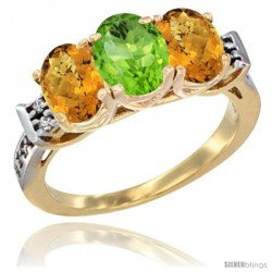 10K Yellow Gold Natural Peridot & Whisky Quartz Sides Ring 3-Stone Oval 7x5 mm Diamond Accent