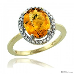 10k Yellow Gold Diamond Whisky Quartz Ring 2.4 ct Oval Stone 10x8 mm, 1/2 in wide -Style Cy926114