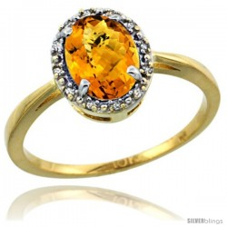 10k Yellow Gold Diamond Halo Whisky Topaz Ring 1.2 ct Oval Stone 8x6 mm, 1/2 in wide
