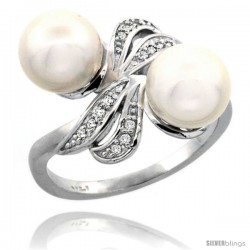 14k White Gold Ribbon Pearl Ring w/ 0.09 Carat Brilliant Cut ( H-I Color VS2-SI1 Clarity ) Diamonds & 8mm White Pearls, 11/32