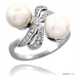 14k White Gold Ribbon Pearl Ring w/ 0.09 Carat Brilliant Cut ( H-I Color VS2-SI1 Clarity ) Diamonds & 8mm White Pearls, 11/32