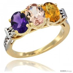 10K Yellow Gold Natural Amethyst, Morganite & Whisky Quartz Ring 3-Stone Oval 7x5 mm Diamond Accent