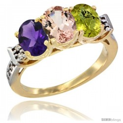 10K Yellow Gold Natural Amethyst, Morganite & Lemon Quartz Ring 3-Stone Oval 7x5 mm Diamond Accent