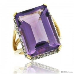 10k Yellow Gold Diamond Amethyst Ring 14.96 ct Emerald shape 18x13 mm Stone, 13/16 in wide