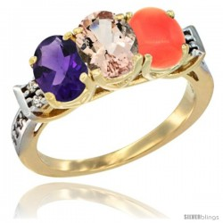 10K Yellow Gold Natural Amethyst, Morganite & Coral Ring 3-Stone Oval 7x5 mm Diamond Accent