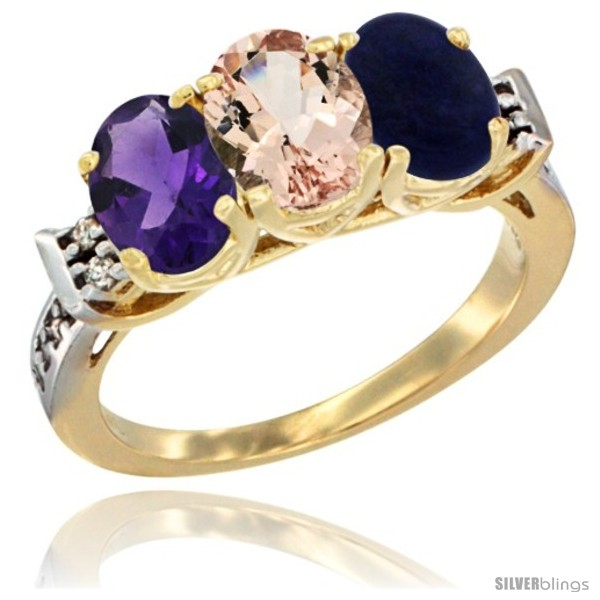 https://www.silverblings.com/43678-thickbox_default/10k-yellow-gold-natural-amethyst-morganite-lapis-ring-3-stone-oval-7x5-mm-diamond-accent.jpg