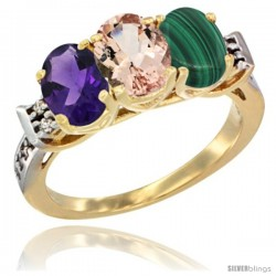 10K Yellow Gold Natural Amethyst, Morganite & Malachite Ring 3-Stone Oval 7x5 mm Diamond Accent