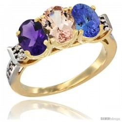 10K Yellow Gold Natural Amethyst, Morganite & Tanzanite Ring 3-Stone Oval 7x5 mm Diamond Accent