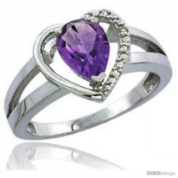 10K White Gold Natural Amethyst Ring Heart-shape 5 mm Stone Diamond Accent