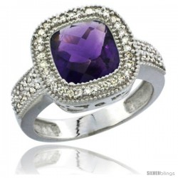 10K White Gold Natural Amethyst Ring Cushion-cut 9x9 Stone Diamond Accent