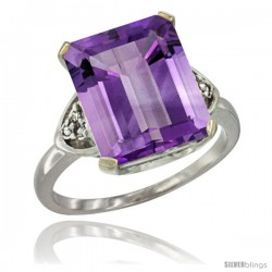 10K White Gold Natural Amethyst Ring Emerald-shape 12x10 Stone Diamond Accent