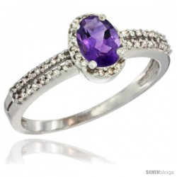 10K White Gold Natural Amethyst Ring Oval 6x4 Stone Diamond Accent -Style Cw901178