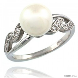 14k White Gold Wavy Pearl Ring w/ 0.043 Carat Brilliant Cut ( H-I Color VS2-SI1 Clarity ) Diamonds & 9mm White Pearl, 11/32