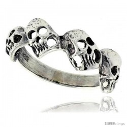 Sterling Silver Torn Skull Link Ring 5/16 in wide