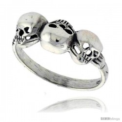 Sterling Silver Triple Torn Skull Ring