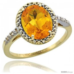 14k Yellow Gold Diamond Citrine Ring 2.4 ct Oval Stone 10x8 mm, 1/2 in wide -Style Cy409111