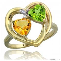 14k Yellow Gold 2-Stone Heart Ring 6mm Natural Citrine & Peridot Diamond Accent