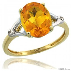 14k Yellow Gold Diamond Citrine Ring 2.4 ct Oval Stone 10x8 mm, 3/8 in wide