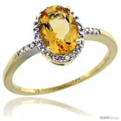 14k Yellow Gold Diamond Citrine Ring 1.17 ct Oval Stone 8x6 mm, 3/8 in wide