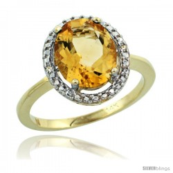 14k Yellow Gold Diamond Citrine Ring 2.4 ct Oval Stone 10x8 mm, 1/2 in wide -Style Cy409114