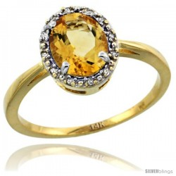 14k Yellow Gold Diamond Halo Citrine Ring 1.2 ct Oval Stone 8x6 mm, 1/2 in wide