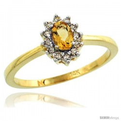 14k Yellow Gold Diamond Halo Citrine Ring 0.25 ct Oval Stone 5x3 mm, 5/16 in wide