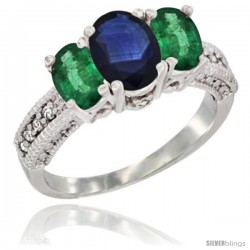 14k White Gold Ladies Oval Natural Blue Sapphire 3-Stone Ring with Emerald Sides Diamond Accent