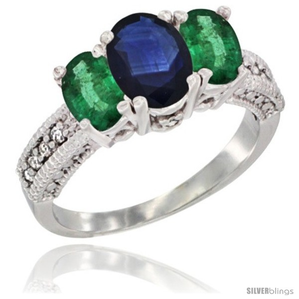 https://www.silverblings.com/43769-thickbox_default/14k-white-gold-ladies-oval-natural-blue-sapphire-3-stone-ring-emerald-sides-diamond-accent.jpg